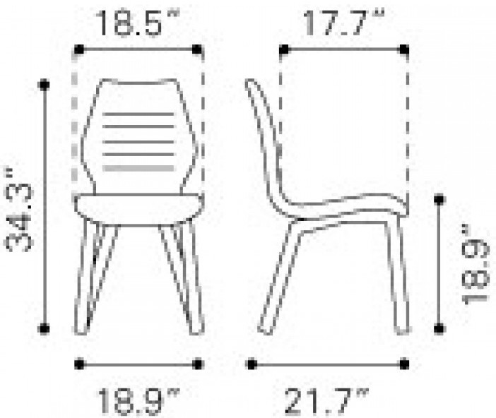 Zuo Modern Aalborg Dining Chair Graphite Dimensions