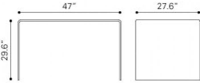 Zuo Modern Caravan Desk Clear Dimensions