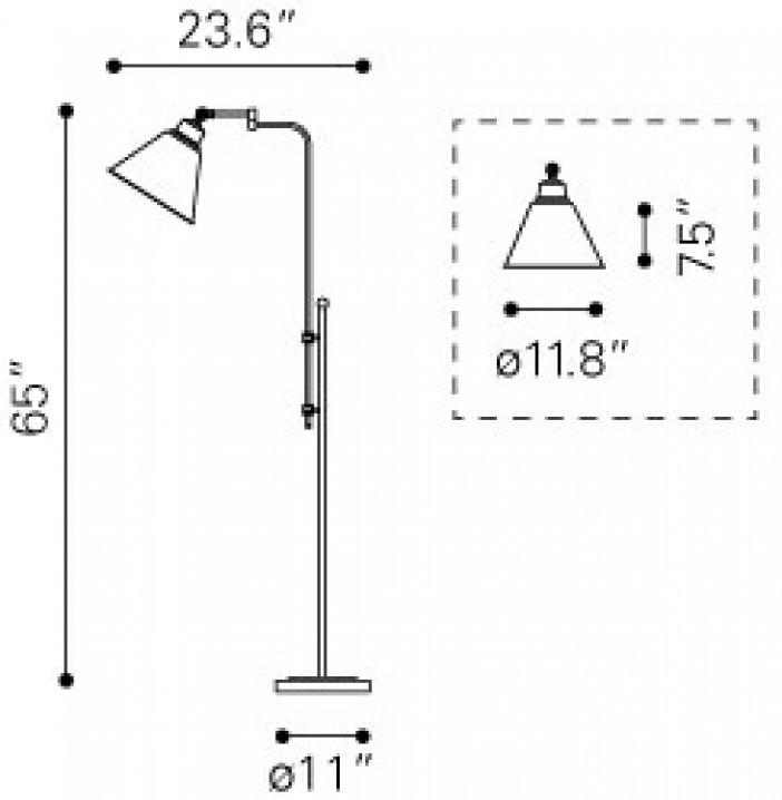 Zuo Modern Rush Floor Lamp Dimensions
