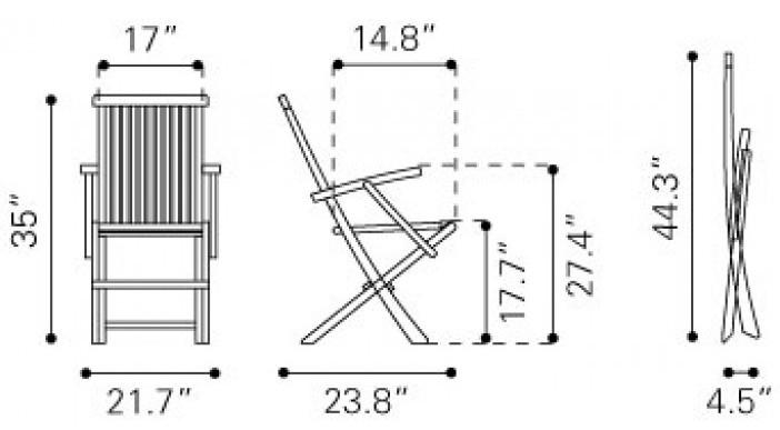 Zuo Modern Regatta Folding Arm Chair Natural Dimensions