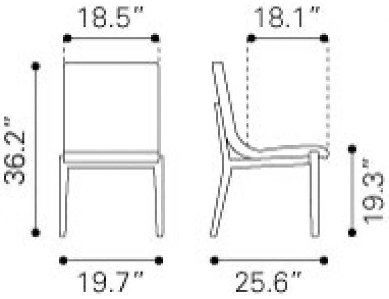 Zuo Modern Hamilton Dining Chair BeigeDimensions