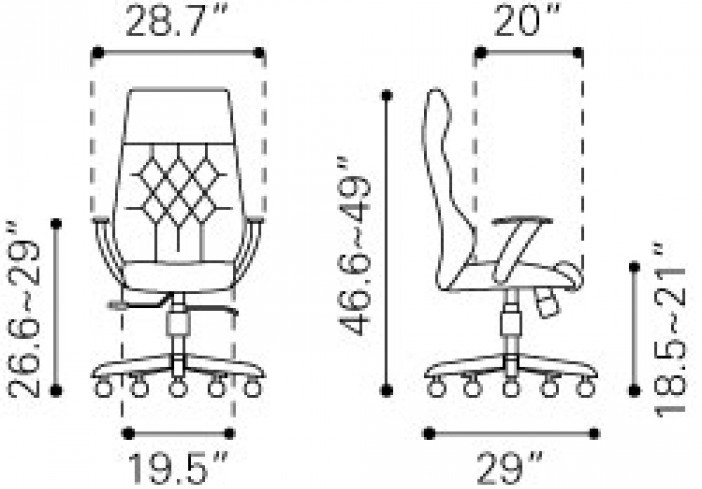 Zuo Modern Boutique Office Chair White Dimensions