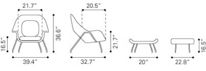 Zuo Modern Nursery Occasional Chair & Ottoman Light Gray Dimensions
